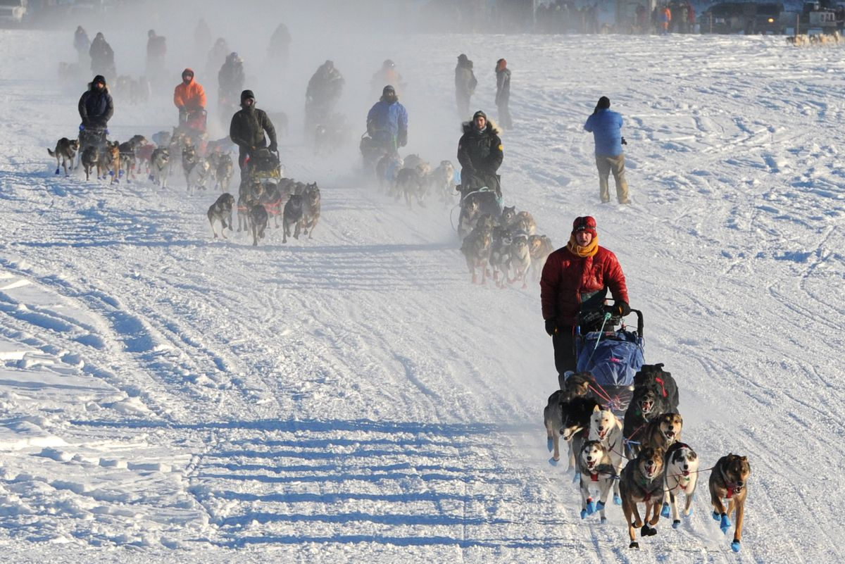 Mushers drive their dog teams across Willow Lake during a mass start for the Willow 300 on Feb. 1, 2018. (Bill Roth / ADN archive)