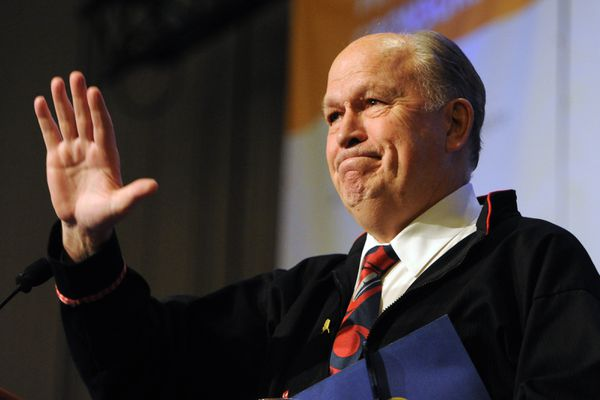 Alaska Governor Bill Walker spoke to the delegates gathered at the AFN Convention in the Dena'ina Center on Thursday, Oct. 18, 2018. (Bill Roth / ADN)