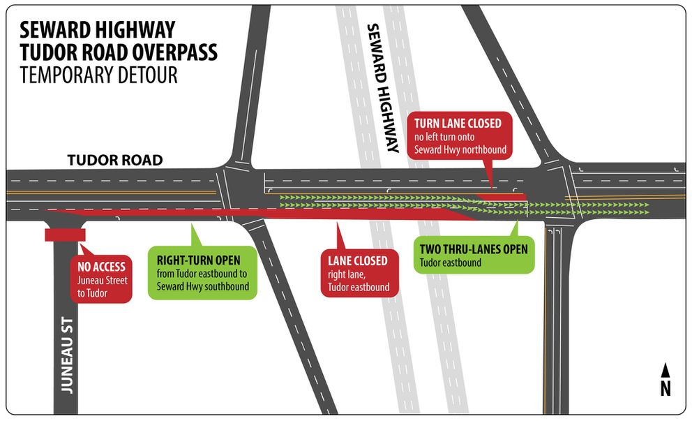 Two eastbound lanes will be open Friday on Tudor Road over the Seward Highway as repairs to the overpass continue. (Alaska Department of Transportation and Public Facilities)