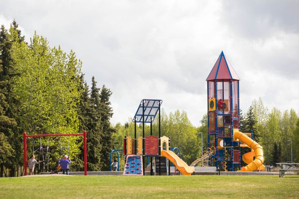 Playground equipment at Valley of the Moon Park Thursday, May 24, 2018. (Loren Holmes / ADN)