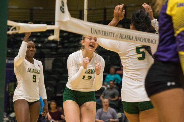 UAA's Ellen Floyd celebrates a point during a season-opening game against the Western New Mexico Mustangs Thursday, Aug. 23, 2018 at the Alaska Airlines Center. (Loren Holmes / ADN)