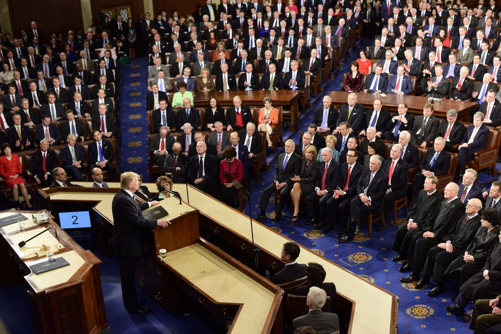 President Donald Trump delivers his first address before a joint session of Congress on Tuesday in Washington, D.C. (Melina Mara / The Washington Post)