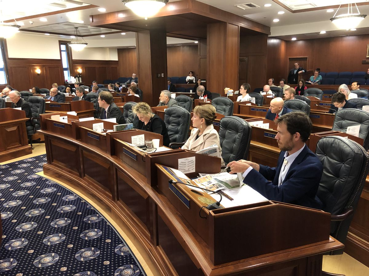 The Alaska House of Representatives votes Sunday, June 9, 2019 on the compromise state operating budget. (James Brooks / ADN)