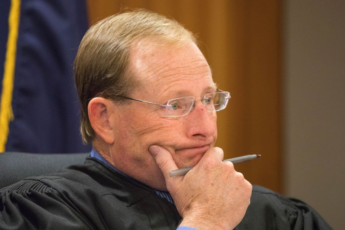 Superior Court Judge Michael Corey listens to arguments during a change of plea and sentencing hearingon Sept. 27, 2017 at the Nesbett Courthouse in Anchorage. (Loren Holmes / ADN)