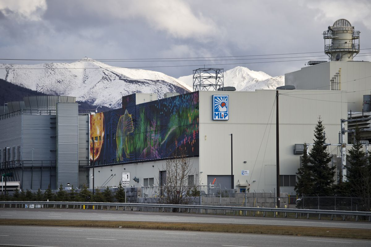 ML&P's plant 2 and 2A power generation facilities are located near the Glenn Highway in northeast Anchorage. Photographed on October 28, 2019. (Marc Lester / ADN)
