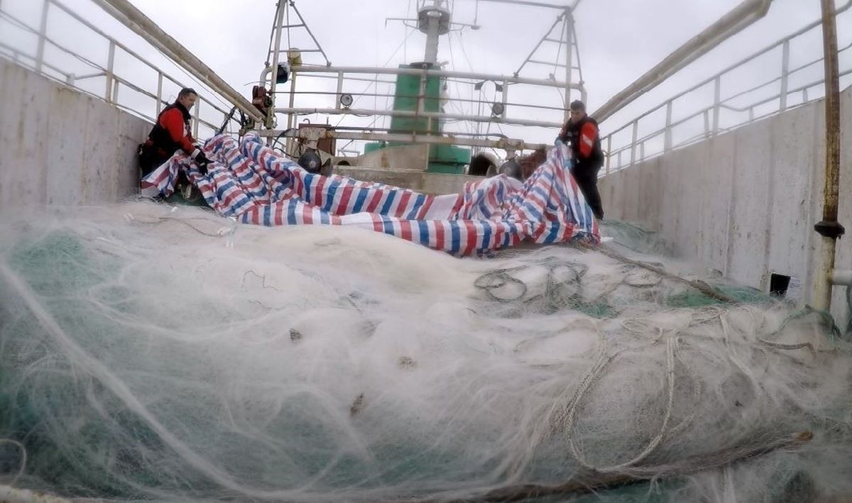 USCGC Alex Haley (WMEC 39) and People's Republic of China Coast Guard crew members uncover an approximately 5.6-mile driftnet onboard the fishing vessel Run Da during a joint boarding of the vessel in the North Pacific Ocean, 860 miles east of Hokkaido, Japan, June 16, 2018. The Alex Haley crew transferred custody of the Run Da to the PRC Coast Guard for prosecution. (U.S. Coast Guard photo)
