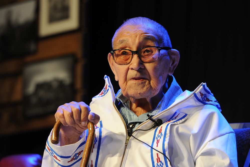 Ugiaqtag Wesley Aiken, 92, an Iñupiaq elder from Utqiaġvik, gave the elder keynote address during the First Alaskans Institute Elders & Youth Conference at the Dena'ina Center on Monday Oct. 15, 2018. (Bill Roth / ADN)