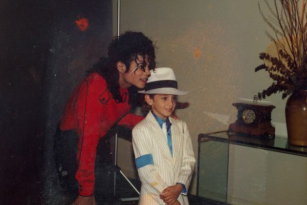 Michael Jackson poses for a photo with a young Wade Robson. MUST CREDIT: HBO