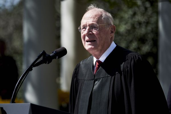 Supreme Court Justice Anthony Kennedy speaks before administering the oath of office to Judge Neil Gorsuch in the White House Rose Garden on April 10, 2017. MUST CREDIT: Bloomberg photo by T.J. Kirkpatrick