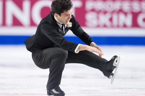 Keegan Messing, of Canada, competes in the men's free skate at figure skating's Grand Prix Final in Vancouver, British Columbia, Friday, Dec. 7, 2018. (Jonathan Hayward/The Canadian Press via AP)