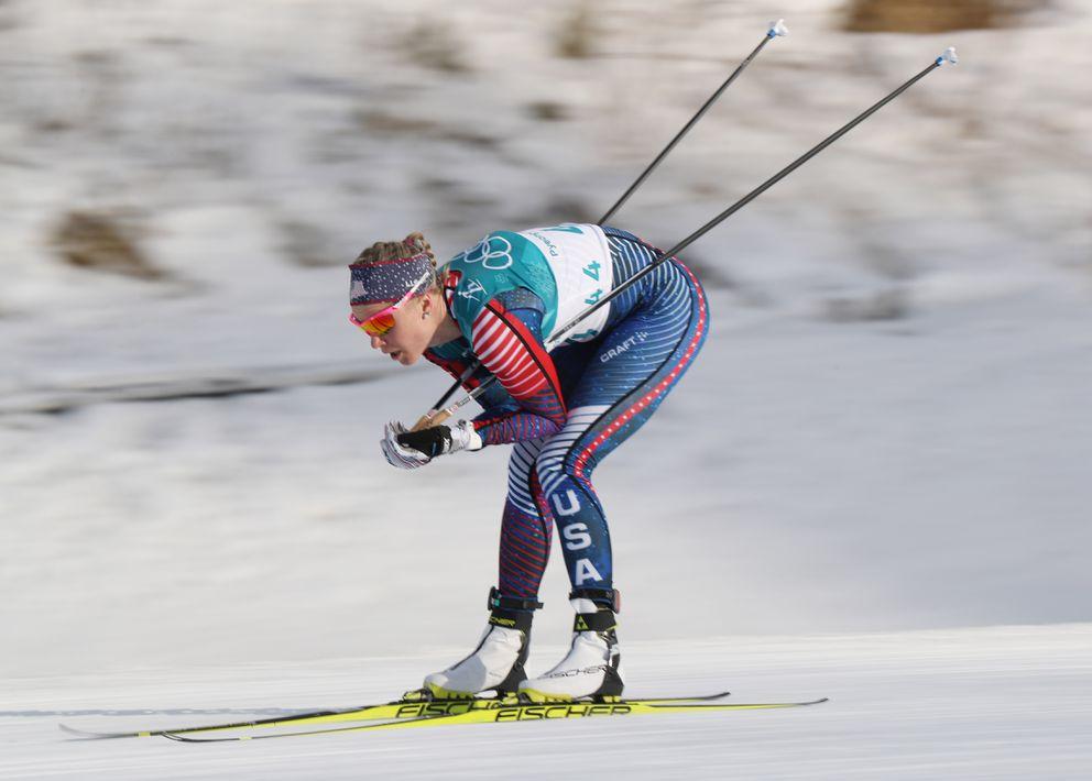 Alaska skier Sadie Bjornsen (USA) competes during the women's10km freestyle race. Matt Kryger-USA TODAY Sports