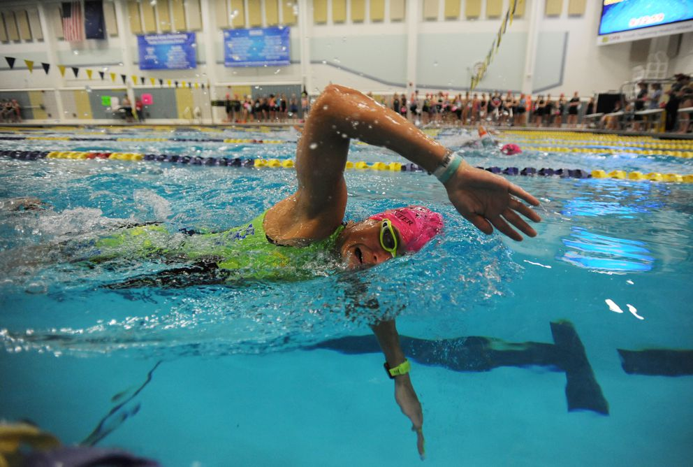 Three-time champion Amber Stull swims in the Bartlett pool en route to a second-place finish. (Bill Roth / ADN)