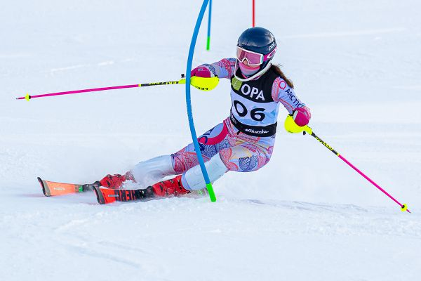 Fast, clean turns gave Alyeska Ski Club U12 Alexandra Vonwalter-Gentner the U12 class winner and was also gave her the fastest overall times on both courses Saturday in the U12/U14 Alaska State Championship Slalom on the Tanaka Hill at Alyeska. (Photo by Bob Eastaugh)