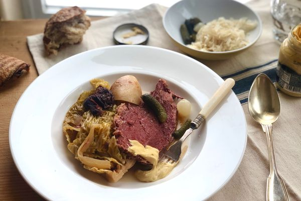 Corned beef and cabbage with turnips and prunes (Photo by Kim Sunée)