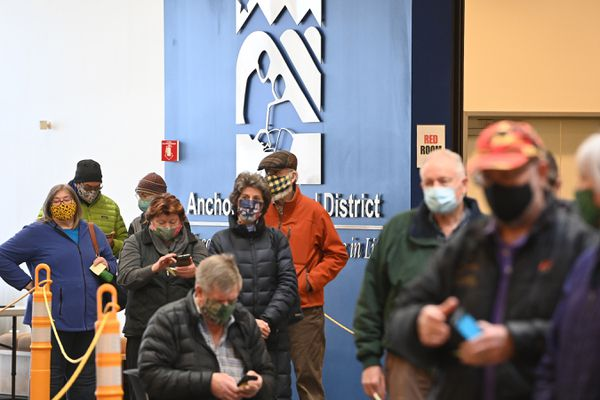 People wait in line during at the public COVID-19 vaccination site in the ASD Education Center on Thursday, Jan. 7, 2021. (Bill Roth / ADN)