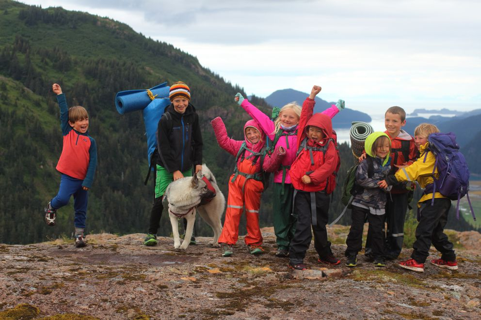 Kids pose on Lunch Mountain, celebrating their backpack trip on the new Tutka trail.(Ground Truth Trekking)