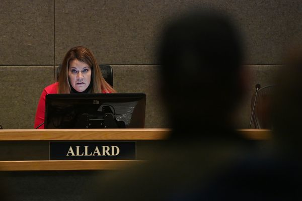 Anchorage Assembly member Jamie Allard clarified her stance concerning comments she made on social media about Nazi license plates, during the assembly meeting on Tuesday, Jan. 26, 2021. (Bill Roth / ADN)