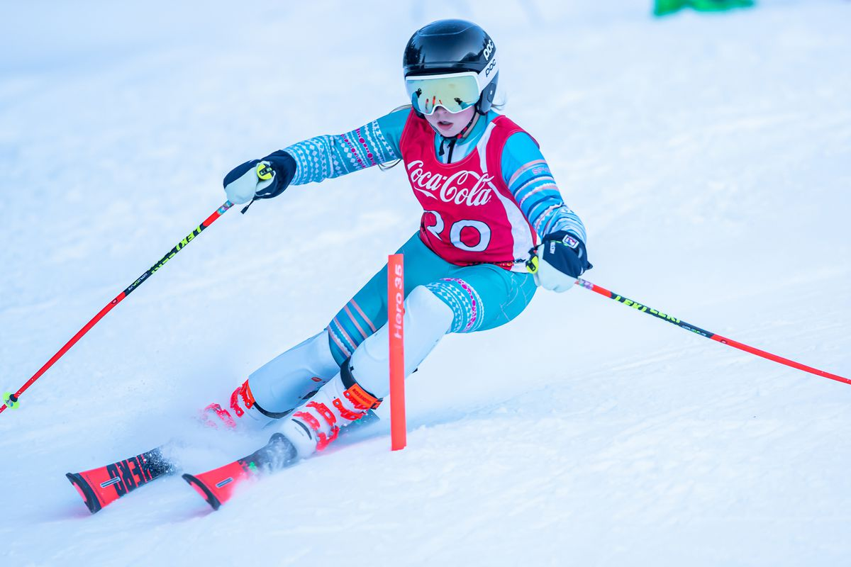 Ali Boshell not only won the U12 class, she beat all of the U14 skiers in the first of two Coca-Cola Classic slalom races Saturday at Alyeska. (Photo by Bob Eastaugh)