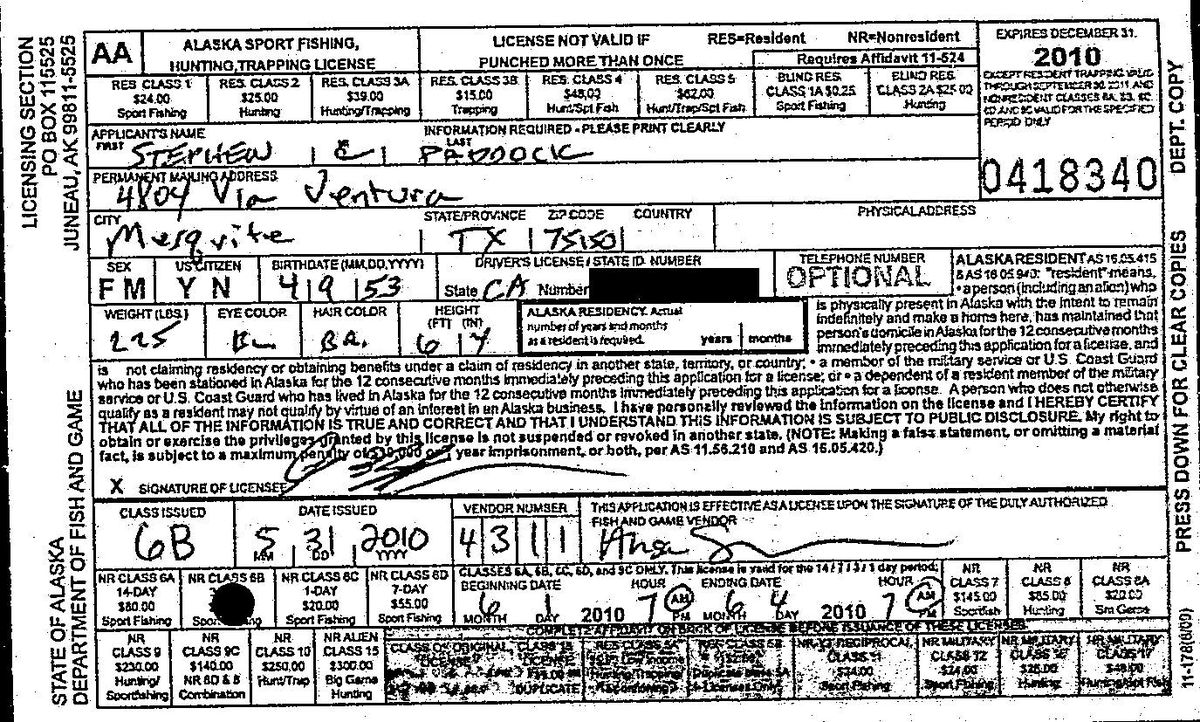 Stephen Paddock acquired a 2010 Alaska fishing hunting and trapping license. (Alaska Dept. of Fish and Game)
