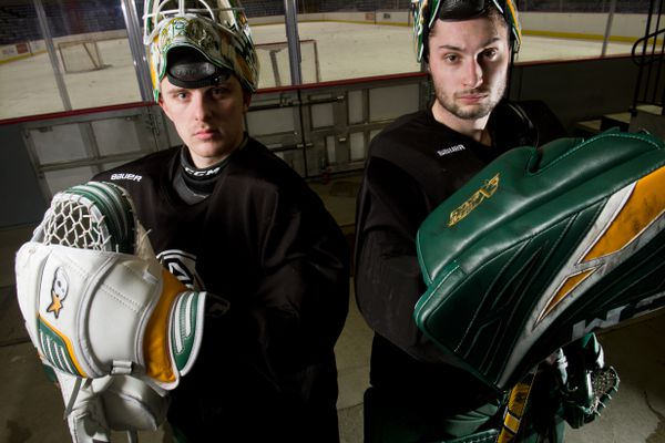 Kris Carlson, left, and Kristian Stead are both sophomore goaltenders for UAA hockey. Photographed January 10, 2019. (Marc Lester / ADN)