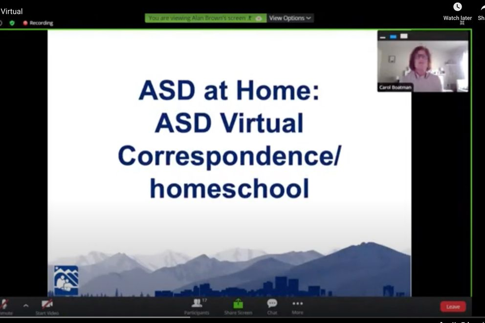 Carol Boatman, Director of Learning Innovation for ASD, discusses the new virtual learning program in this screenshot of the rollout of ASD at Home, the Anchorage School District's Learning at Home program. (Screenshot from https://www.asdk12.org/Page/15639)