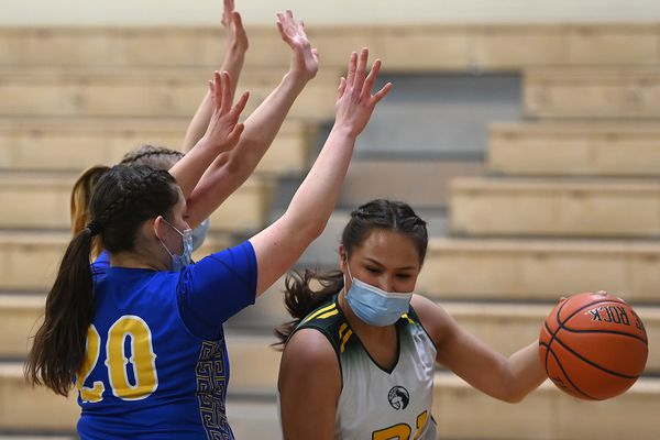 Brevig Mission senior Alaina Pete drives to the basket during the Huskies' 48-42 quarterfinals victory over the Tri-Valley Warriors in quarterfinals of the Girls 1A state basketball tournament at Palmer Junior Middle School on Thursday, April 1, 2021. (Bill Roth / ADN)