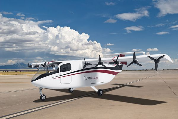 Rendering of a hybrid-electric aircraft in development by Airflow for Ravn Alaska. Airflow hopes to have the planes approved by federal regulators and ready to fly by 2025. (Image courtesy Airflow)