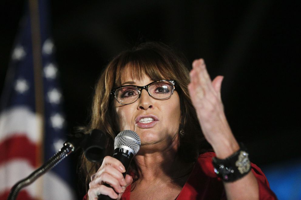 "FILE - In this Sept. 21, 2017, file photo, former vice presidential candidate Sarah Palin speaks at a rally in Montgomery, Ala. The former Republican vice presidential candidate says she fell victim to British comedian Sacha Baron Cohen during an interview for his upcoming Showtime series, ""Who Is America?"" In a Facebook post on Tuesday, July 10, 2018, the former Alaska governor wrote she and a daughter traveled across the country for what she thought was a legitimate interview. But she says Cohen had ""heavily disguised himself"" as a disabled U.S. veteran in a wheelchair. (AP Photo/Brynn Anderson, File)"