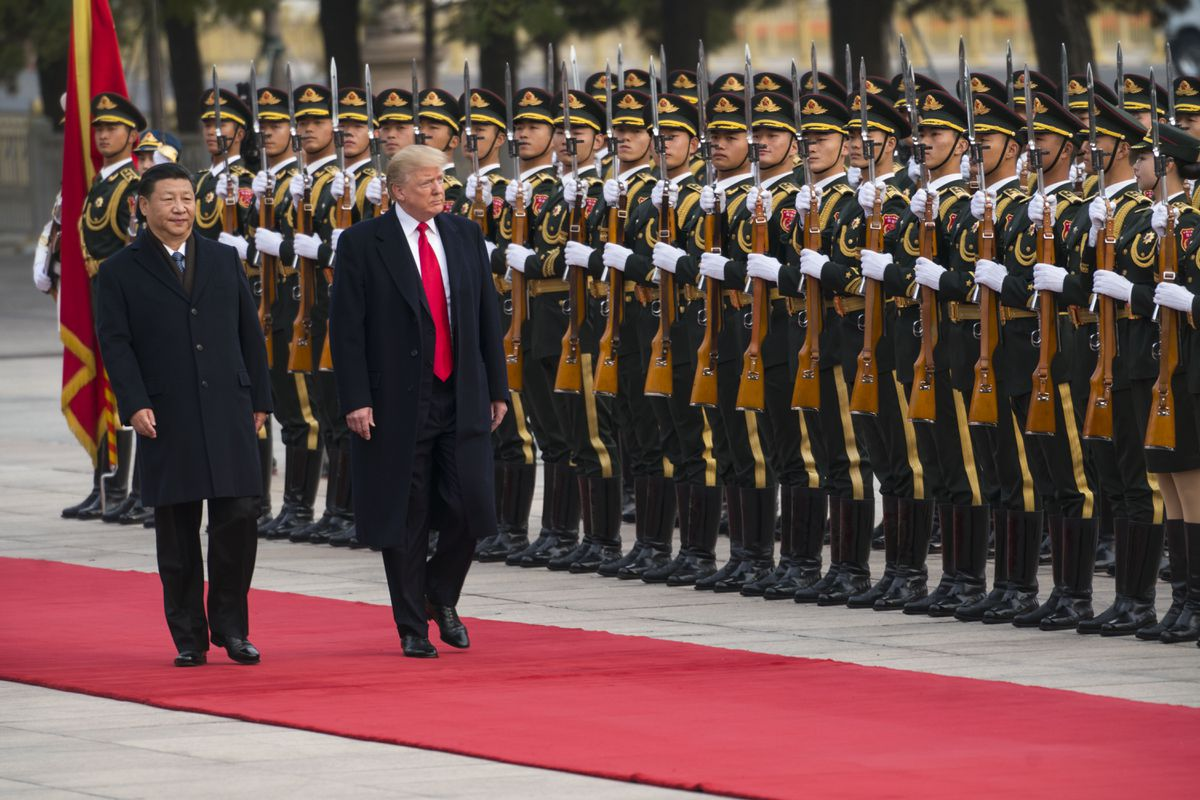 President Donald Trump with President Xi Jinping of China during a welcome ceremony in Beijing, Nov. 9, 2017. (Doug Mills/The New York Times)