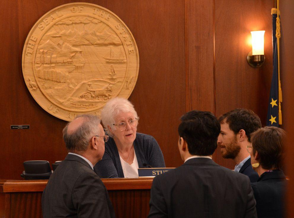 House Speaker Louise Stutes, R-Kodiak, talks to fellow lawmakers as a special session of the Alaska Legislature opens on Wednesday, June 23, 2021. (James Brooks / ADN)