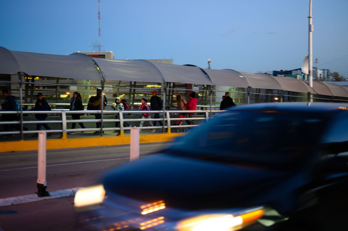 Pedestrians and cars head into the United States from Ciudad Juarez, Chihuahua, Mexico, via the Paso del Norte International Bridge in January. (Washington Post photo by Sarah L. Voisin)