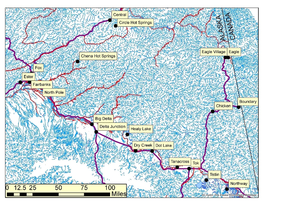 Figure 3: Streams of Interior Alaska. Anadromous streams are highlighted in red. The data sources are the same as Figure 1. (graphic by Peter Illig)
