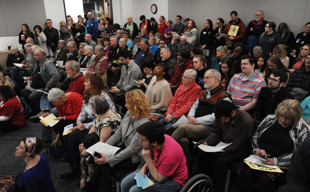 Dozens of people testified during the Alaska State House budget input hearing at the Anchorage LIO on Sunday, March 24, 2019. (Bill Roth / ADN)