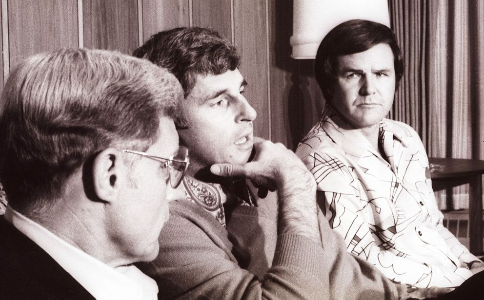 From left: North Carolina's Norm Sloan, Indiana's Bobby Knight and Louisville's Denny Crum hold a press conference upon arriving at the Anchorage International Airport before the first Sea Wolf Classic November 23, 1978. (David Predeger / Anchorage Times)
