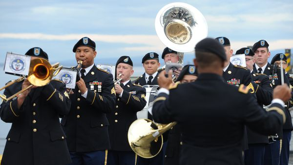 Arctic Warrior Band performs during arrival ceremony for the Japan Training Squadron at the Port of Anchorage on Wednesday, Sept. 27, 2017. (Bill Roth / Alaska Dispatch News)