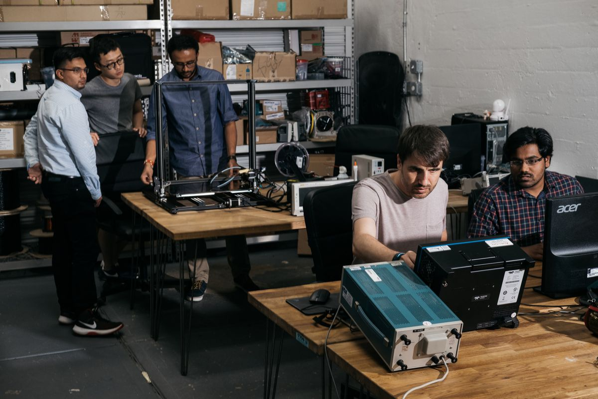 The engineering team at Hevo works out of a garage in Brooklyn's Red Hook neighborhood where much of the prototyping and small batch manufacturing takes place. Bloomberg photo by Christopher Lee.