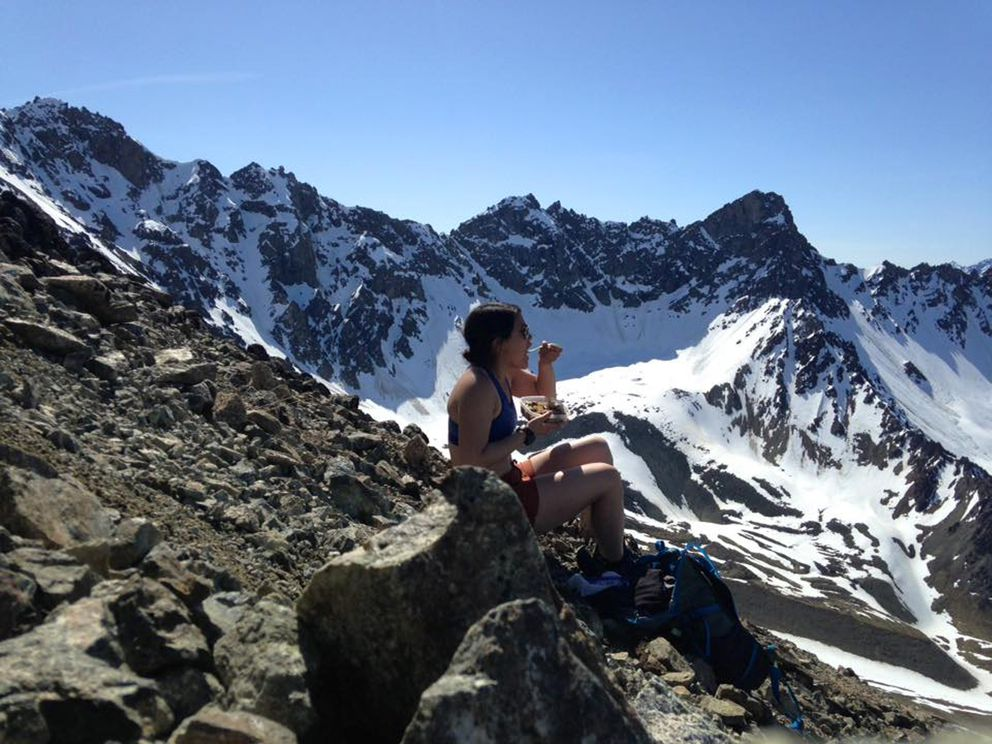 Two things I wasn't wearing on Matanuska Peak on a sunny day in May 2016: sleeves and sunscreen. I would come to regret this after a nasty sunburn set in. (Vicky Ho / Alaska Dispatch News)