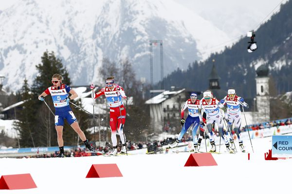 United States' Jessica Diggins leads Norway's Ingvild Flugstad Oestberg and the rest of the pack, during the cross-country women's 30K Mass Start event, at the Nordic Ski World Championships in Seefeld, Austria, Saturday, March 2, 2019. (AP Photo/Matthias Schrader)
