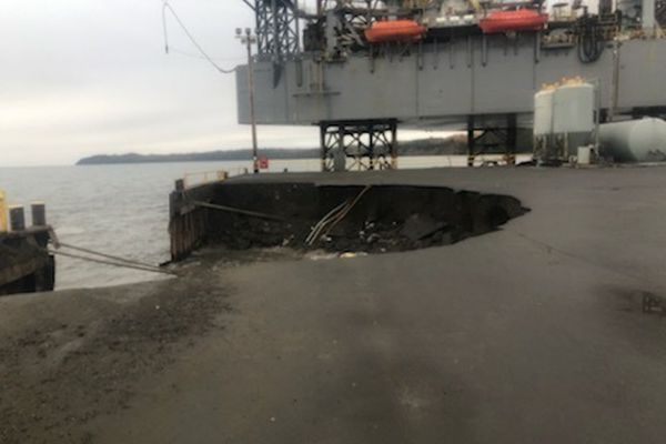A portion of the Offshore Systems Kenai dock in Nikiski, Alaska collapsed on Wednesday, Oct. 2, 2019. (United States Coast Guard)