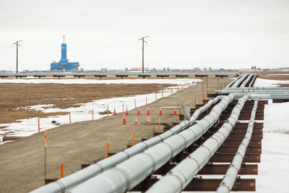 BP's Parker Rig 272, viewed from the Lisburne Production Center in Prudhoe Bay on Friday, May 22, 2015. (Loren Holmes / ADN)