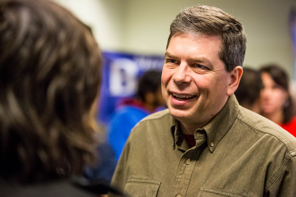 Then-Sen. Mark Begich greets a supporter in Anchorage during his failed 2014 re-election campaign. (Loren Holmes / Alaska Dispatch News)