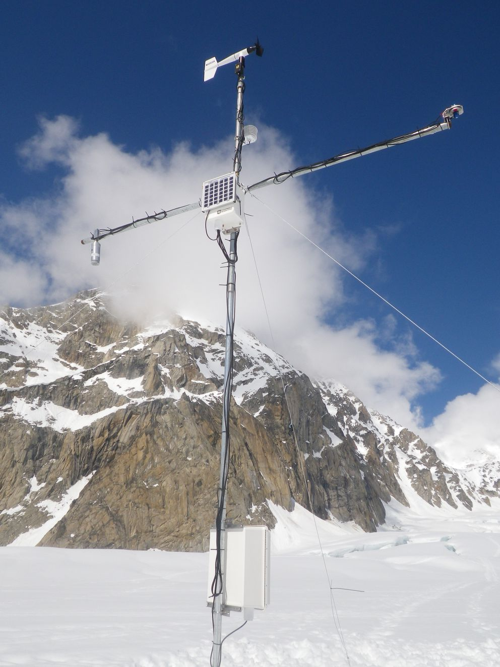 The 7,000-foot weather station is readied for winter. (Photo by Dominick Winski)