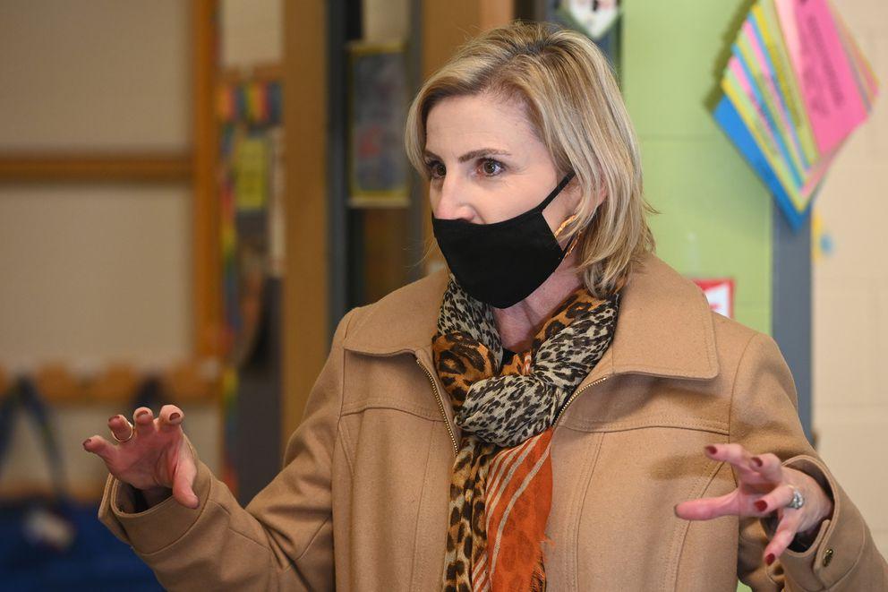 ASD Superintendent Dr. Deena Bishop at Huffman Elementary on Monday, Nov. 2, 2020. (Bill Roth / ADN)