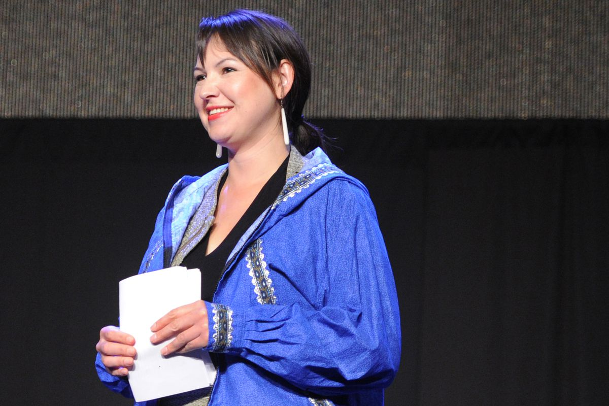 Raina Thiele, an Alaskan Native who serves as a White House associate director of intergovernmental affairs and public engagement, was one of the speakers on the first day of the Alaska Federation of Natives annual convention on Thursday, Oct. 15, 2015, at the Dena'ina Center in Anchorage.