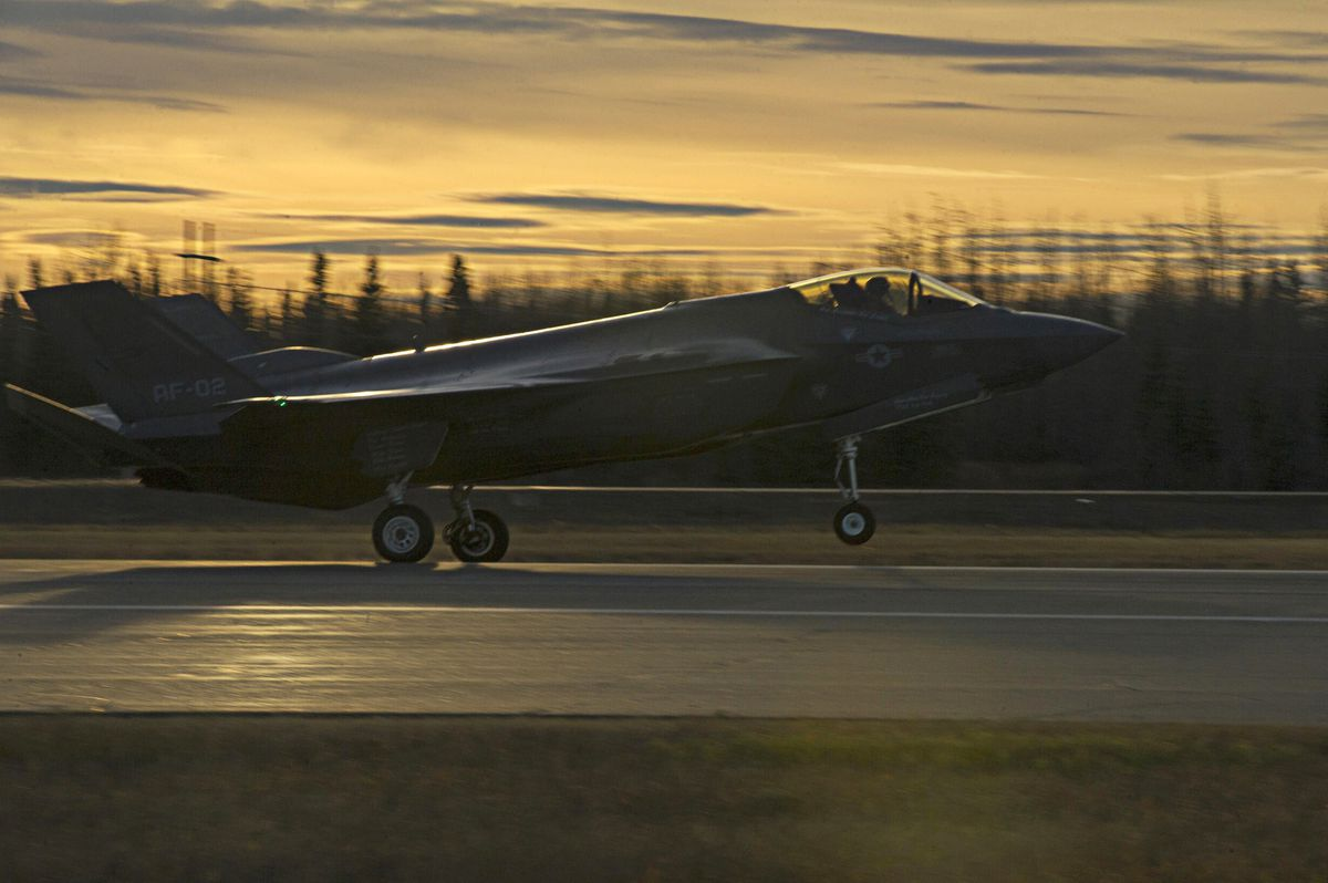 A U.S. Air Force F-35A Lightning II fighter aircraft lands on the flight line Oct. 12, 2017, at Eielson Air Force Base. (Eric M. Fisher / U.S. Air Force)