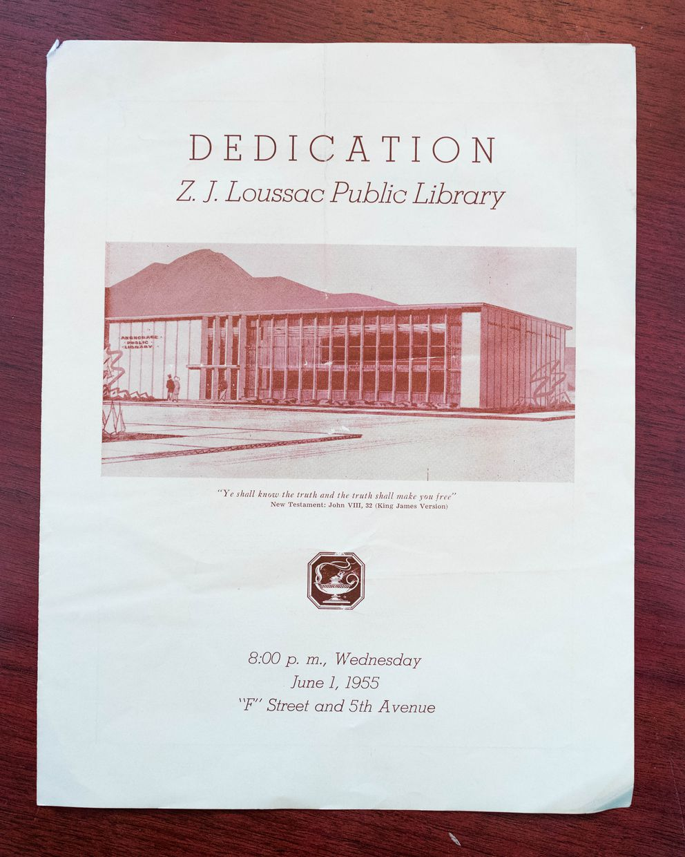 A program for the dedication of the Z.J. Loussac Public Library in downtown Anchorage, 1955. (Loren Holmes / Alaska Dispatch News)