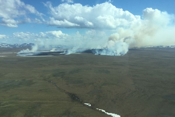 The Tusikpak Lake Fire was burning through tundra grass about 16 miles east of Point Hope on Monday, June 4, 2018. It was estimated at 2,000 acres as of Monday afternoon. (Photo by Ryan McPherson, BLM Alaska Fire Service)
