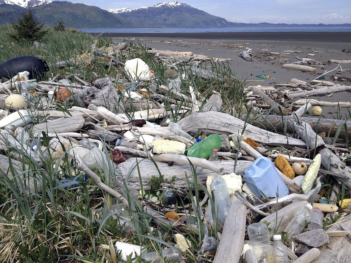 In this undated photo provided by the Alaska Department of Environmental Conservation, debris litters the shore on Alaska's Montague Island.  (Alaska Department of Environmental Conservation via AP)