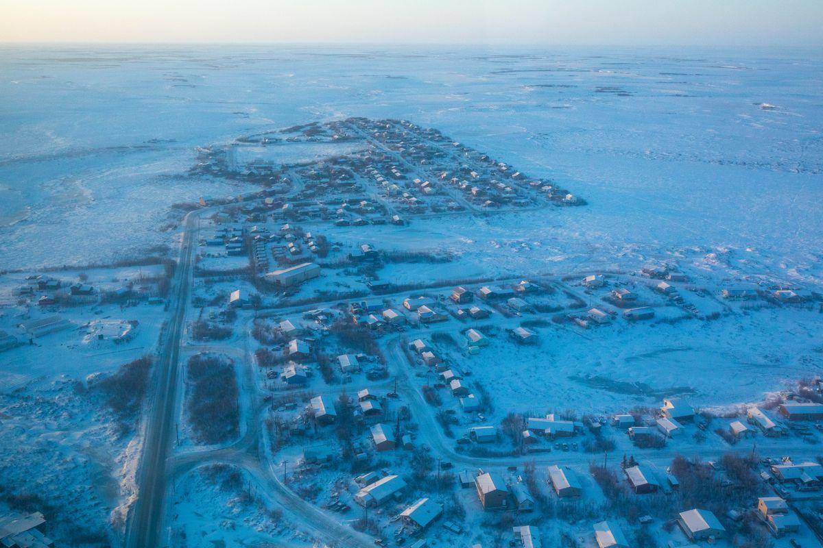 An aerial view of Bethel, Alaska on Saturday, Jan. 21, 2017. (Loren Holmes / ADN)