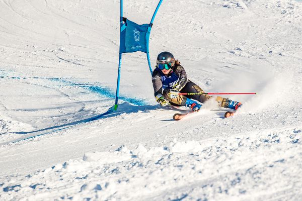 Mikaela Tommy who skis for University of Colorado exits the steep Waterfall pitch in her first run in the Seawolf Invitational FIS-U giant slalom. (Photo by Bob Eastaugh)